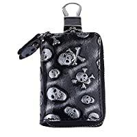 TechVibe Car Key Case, Skull Premium Leather Car Smart Key Chain Holder Metal Hook and Keyring Wallet Zipper Bag for Auto Remote Key Fob - Black