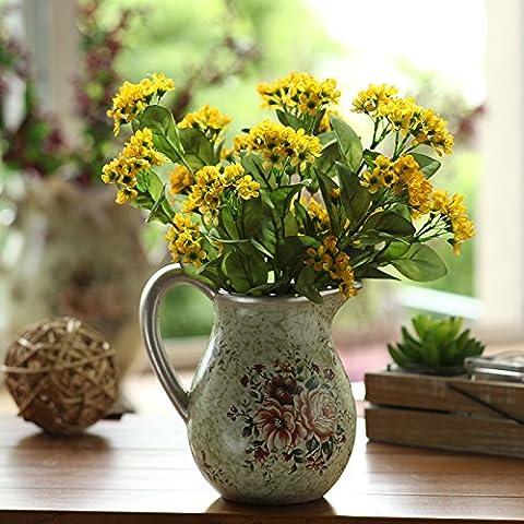 qwer Continental vasos cerámicos pintados a mano flores artificiales emulación kit flores macetas clásicas decoraciones florales , en el salón con amarillo fu Lu kit
