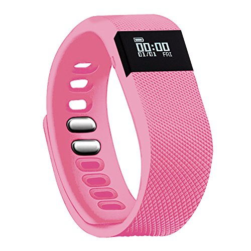 Fitness Tracker,Amytech Bluetooth 4.0 Sleep Monitor Calorie Counter Pedometer Sport Activity Tracker for Android and IOS Smart Phone Activity Tracker (Pink)