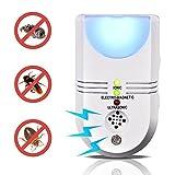 LONGKO 5-in-1 Ultraschall Insekt Repeller elektronische Mückenabwehr Tierfreundlich w / Ionen Purifier Sensor Licht für Ratten Mäuse Nager Schaben und mehr