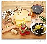 Wallario Herdabdeckplatte / Spitzschutz aus Glas, 1-teilig, 60x52cm, für Ceran- und Induktionsherde, Genuss am Abend - Rotwein, Käseplatte, Oliven und Tomaten