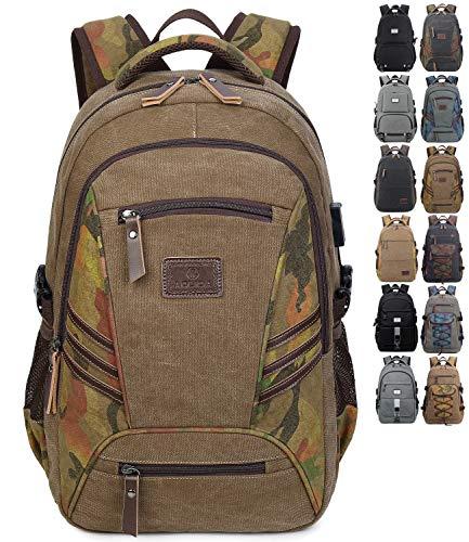 Onyorhan Schulrucksack Canvas Rucksack Reiserucksack Schulranzen Casual Daypack Uni Schultaschen für Herren Jungen passt 15 Zoll Laptop (80361braun) -