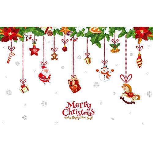 Vosarea Weihnachten Wandaufkleber mit Weihnachtsmann Schneemann Muster Selbstklebende Abnehmbare DIY DIY Fenster klammert Wand Dekor Decal Urlaub Dekorative