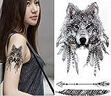 ND tatuaje temporal mujer Tattoo Ephemere Pegatina lobo negro