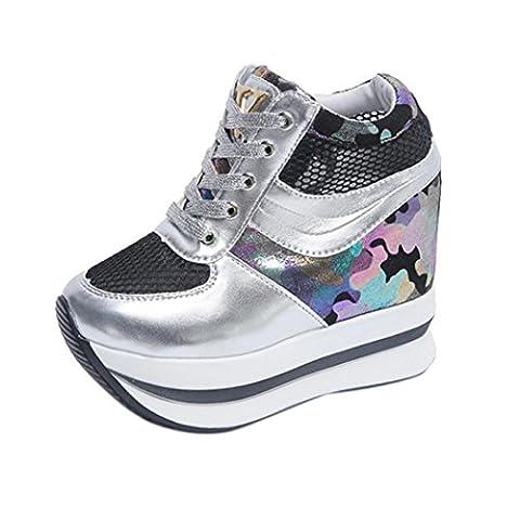 Femmes Mode Chaussures Hauteur Augmentation Occasionnel, QinMM Plate-forme Fainéant Sport Sneaker Basket à Lacet (EU 37, Noir)