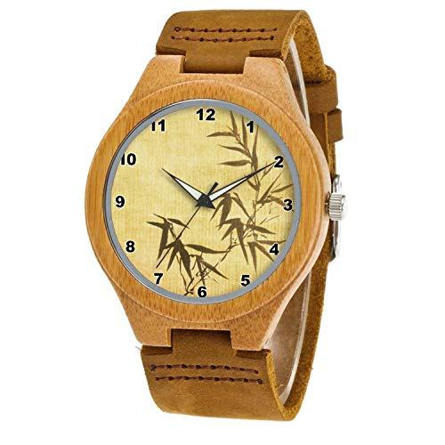 Uhr Armbanduhr Bambus Holz Uhr Naturholz Echtes Leder 091.Grunge befleckte Bambuspapier-Hintergrund-ArmbanduhrUhr Armbanduhr Für Frauen Männer Paar -