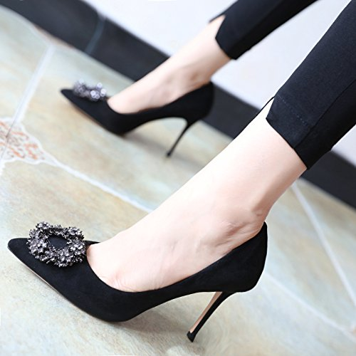 Zapatos De Cuero De Metal Flyrcx Con Tacones Altos De La Boca De La Personalidad Zapatos De Señora Simple Sexy Zapatos Elegantes De Color Negro Verde