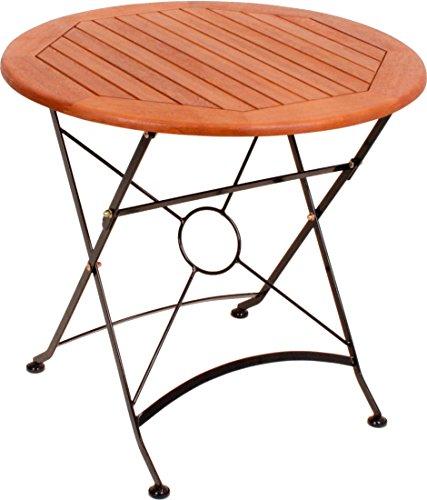 Garten Tisch klappbar XL Holz Metall Garten Terrasse Balkon - hochwertig verarbeiteter Garten Tisch rund Holz XL mit 80 cm Durchmesser - aus 100 % FSC® Eukalpytus Holz