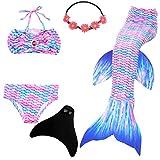 UrbanDesign Meerjungfrau Flosse Zum Schwimmen Flossen Für Mädchen Kinder Mit Bikini, 11-12 Jahre, Engel Fisch