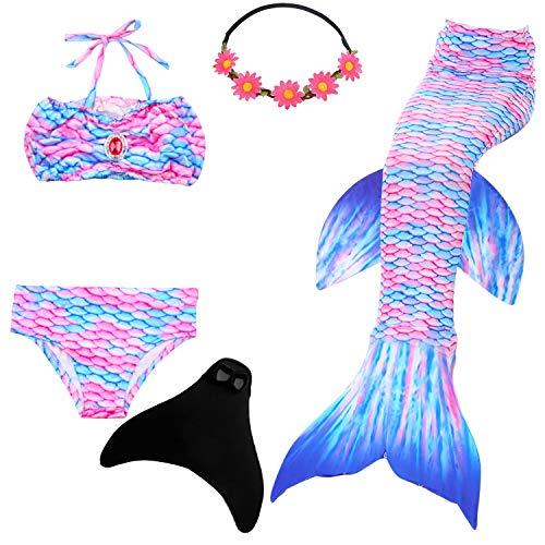 frau Flosse Zum Schwimmen Flossen Für Mädchen Kinder Mit Bikini, 9-10 Jahre, Engel Fisch ()