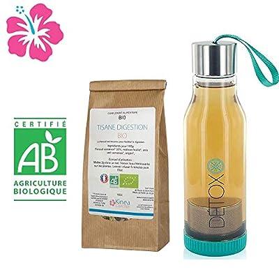 Tisane Digestion Bio à base de Fenouil + Bouteille infuseur detox - Fabriquée en France - Cure 15 jours - Des ingrédients 100% naturels pour faciliter votre digestion