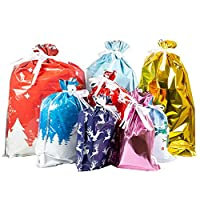 Bouder Christmas Drawstring Gift Bags Assorted Christmas Gift Wrapping Bags Upgraded Christmas Goodie Bags for Birthday Christmas Party