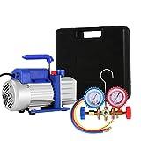 Worldhero Vacuum Pump Kit 4CFM 1/3HP HVAC Air Conditioning Refrigerant Rotary Vane Vacuum
