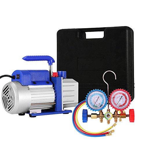 BananaB 4CFM 1/3HP Vakuumpumpen-Kit HVAC Klimaanlage Kältemittel-Drehschieber-Vakuumpumpe mit 4 Ventil R134A R502 R22 R12 A/C Verteiler-Manometer-Set -