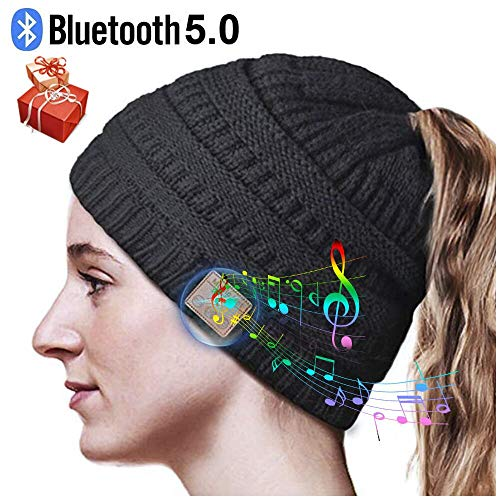 HANPURE Cappello Bluetooth Regali Natale Donna - Regali Natale Originali Berretto Bluetooth con Auricolari, Bluetooth Beanie Musica Cappello, Bluetooth 5.0 Invernali Coda di Cavallo Berretto (Nero)