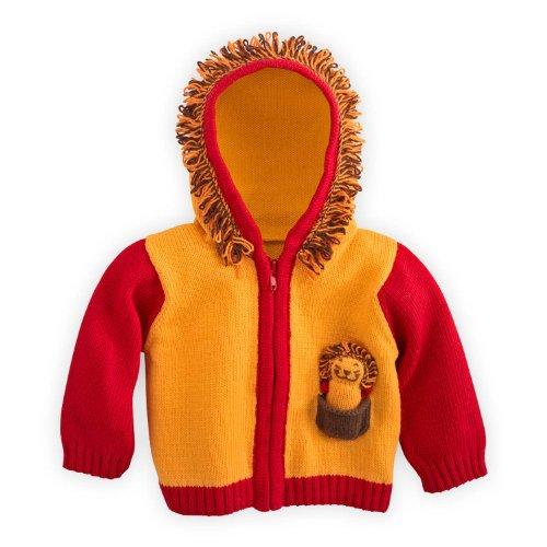 joobles Commerce équitable biologique pour bébé Pull cardigan–Roar le Lion Orange orange 6-12 mois