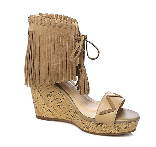 SHINIK Frauen Open Toe Knöchelriemen Pump Sommer Neue Leder Platform Wedge Schuhe Quaste High Heel Roman Sandalen apricot