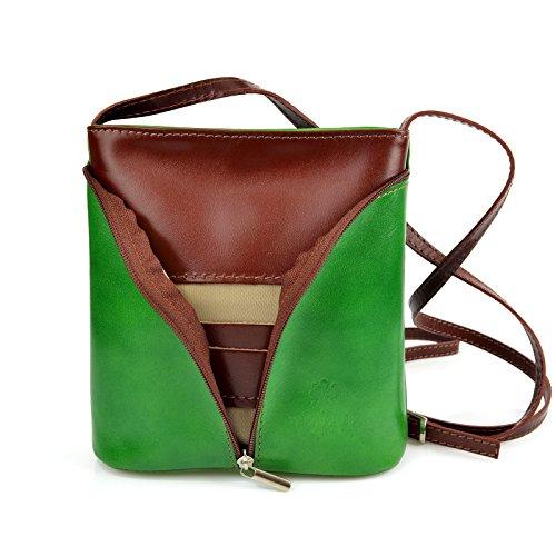 efe307e29df53 Vera Pelle Handtaschen Italien Echt Leder Schultertasche Frauen Damen  Tasche Handtasche Ital Bag Grün Braun Plain ...