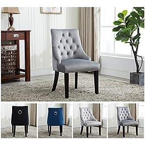 MCC® Relax Design Stuhl Victoria mit Ring, samtigem Bezug und dekorativen Nieten, in 4 angesagten Farben