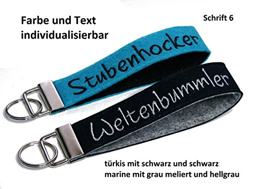 Schlüsselanhänger aus Filz mit Bestickung von individuellem Text z.B. Name Schlüsselband