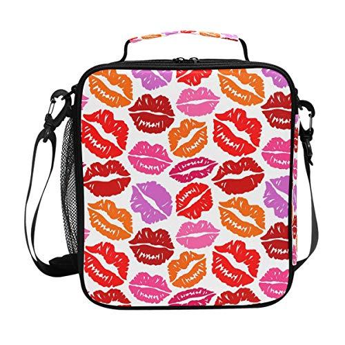 Orediy Isolierter Kühl-Bento-Lunchtasche, Küsse, Lippendruck, wiederverwendbar, Canvas, Lunch-Set, Box für Reisen, Picknick, Schule, Büro - Kühle Küsse