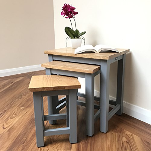 CoHebe | Grey / Oak Nest Of Tables | Modern Nesting Tables | Premium  Quality Solid Oak Top