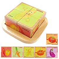 Babe Rock Wooden Block Puzzles Toys Toddler Six Sides Painting Pattern Jigsaw Vehicle Blocks Cube Puzzle Educational Toy Early Learning Kids Childrens Gifts 2-3 Year Old Girl Boy (Vegetable)