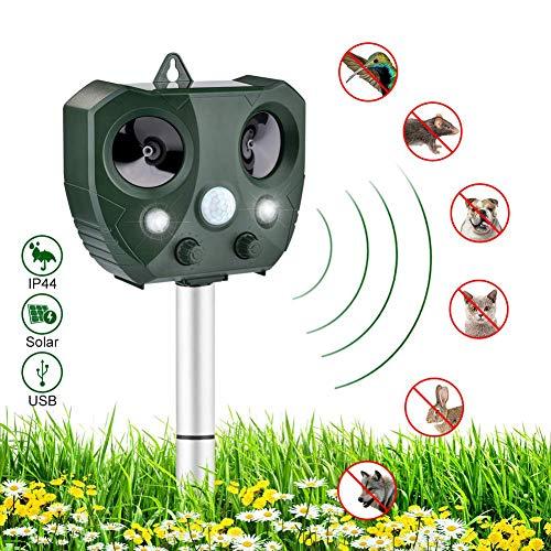 HMJZ Ultraschall Tiervertreiber Hundeschreck Solar Infraroterkennung mit Lautsprecher Im Freien Wasserdicht für GäRten, BauernhöFe