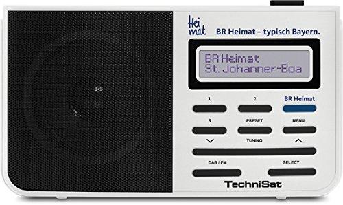 TechniSat DIGITRADIO 210 BR Heimat Edition / Digital-Radio, tragbar, DAB+, UKW, zweizeiliges LCD-Display, Teleskopantenne, Kopfhöreranschluss, Favoritenspeicher, Direktwahltaste zu BR Heimat, weiß
