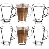 FiNeWaY 6 Latte Glasses Tea Coffee Cappuccino Glass Cups Hot Drink Mugs –