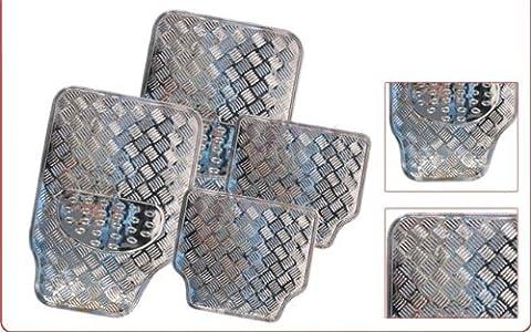 Silver Car Mats Aluminium Chrome Metallic Look - Set Of 4 Protectors Gift Idea