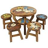 Oriental Galerie Kinder Sitzgruppe Tische und Stühle 5er Set Tischgruppe Massiv Robust Afrika Motiv Holz Braun