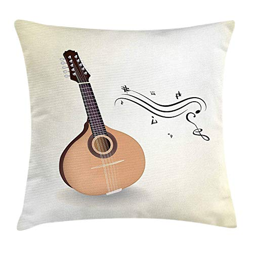 ZMYGH Mandolin Throw Pillow Cushion Cover, Native Ethnic Russian Instrument with Musical Symbols Traditional Cultural Guitar, Decorative Square Accent Pillow Case, 18 X 18 Inches, Multicolor