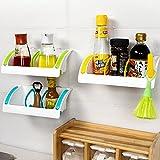 #8: Zollyss Home Kitchen Storage Wall Shelf Multifunction Plastic Suction Cup Sponge Holder Bathroom Organizer Soap Rack