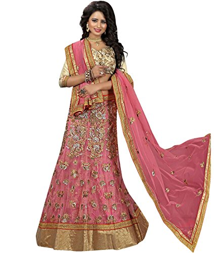 Indian Ethnicwear Bollywood Pakistani Wedding Pink A-Line Lehenga Semi-stitched-MAL53738