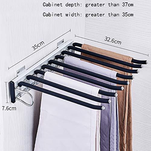 Porte-pantalon Alliage d'aluminium Télescopique Chargement latéral Multifonction Ménage À l'intérieur de l'armoire Porte-pantalon suspendu Porte-pantalon (Couleur : A, taille : 35 * 32.6 * 7.6cm-a)