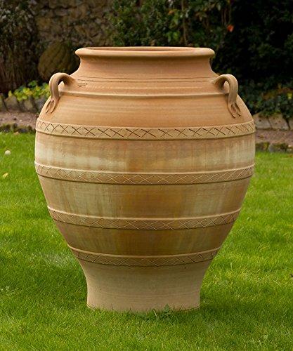 Kreta-Keramik große Amphore aus echtem Terracotta, 100 cm, handgefertigt und absolut frostfest, hochwertige Keramik für den Garten, Balkon oder Terrasse, Cassia 100