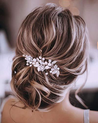 Unicra Silberhochzeit Kristall Haar Reben Blume Blatt Kopfschmuck Hochzeit Haarschmuck für die Braut