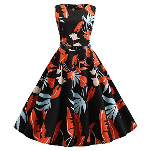 IMJONO Damen Dress,Frauen Weinlese Fünfzigerjahre Retro Sleeveless Druck Abend Party Kleid Abschlussball Schwingen Kleid(Schwarz,XX Large)