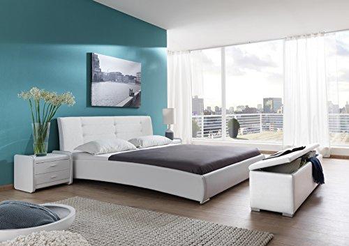 SAM Design Polsterbett 160x200 cm Bastia, weiß, Kopfteil abgesteppten Design, mit Chromfüßen, als Wasserbett verwendbar