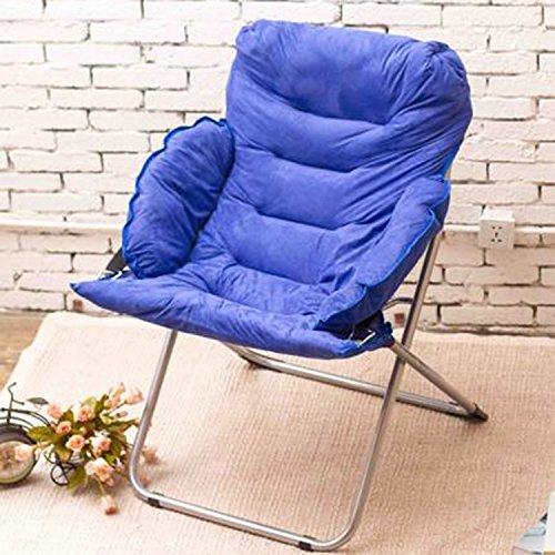 Fauteuil Lazy chair pliable Chaises de loisirs Canapé simple Fauteuils pour ordinateur Pause déjeuner Chaises de lune Chaises de lune (Couleur : Bleu foncé)