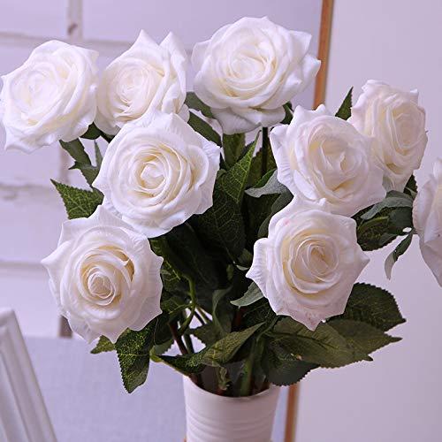 Jun7L Künstliche Rose Blumen Seide floral Fake Rose bouqets arrangment für Home Party Hochzeit Garten Decor, 10 Pcs Weiß 42X6CM 20 X 42 Satin