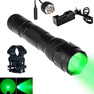 UniqueFire UF-502B Green Light Flashlight XRE Led 350 Lumens 250 Yard Long Range Waterproof 3 Modes Torch Kit with Remote Pressure Switch Barrel Mount and Charger Perfect for Fishing (502B Green light kit set)