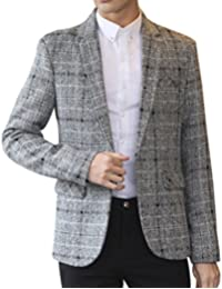 Yasong Men Tailored Faux Wool Tweed Suit Blazer Jacket Coat