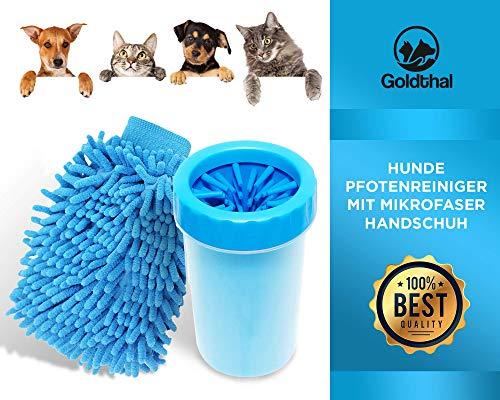 Goldthal Hunde Pfotenreiniger für Normale Pfoten mit Mikrofaser Handschuh schnelles Abtrocknen, Keine schmutzige Pfoten mehr, schnell und gründlich reinigen,weiche sanfte Reinigungsbürste massierende