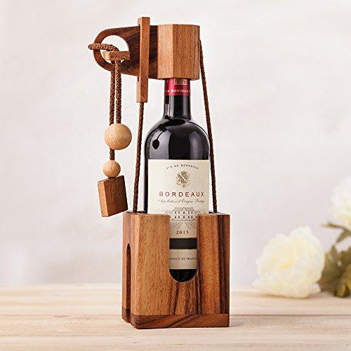 Puzzle da bottiglia - in legno scuro - Confezione per bottiglie - Gioco di abilità