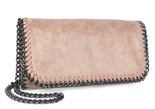 Umhängetasche Clutch mit Kette Metallic Vintage Look Rosa