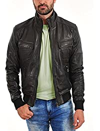 F&H Mens Genuine Cowhide Leather Retro Flap Pocket Bomber Leather Jacket FJ20