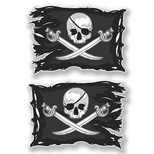 Jolly Roger #6621 - 2x pegatinas de calavera, adhesivo de...