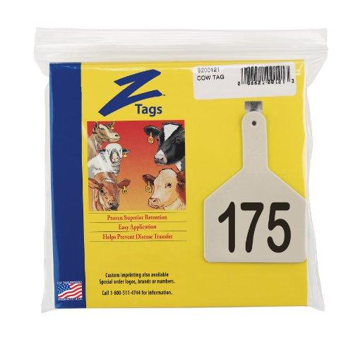 Z etiquetas 1 pieza Pre-numerados láser imprimir etiquetas para vacas, números de 151 A 175, blanco